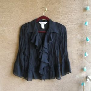 Allison Taylor Black Frilly Blouse Size Medium